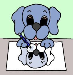 Dreamee Dog's Self Portrait - click for coloring pages