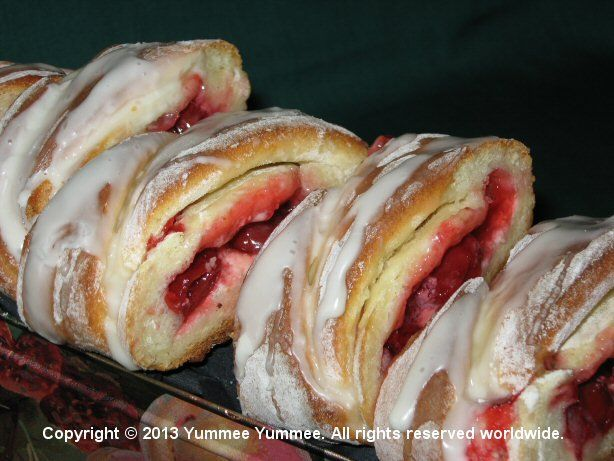 On the first day of Christmas, my true love baked for me, Cherry Cheese Danish Loaves.