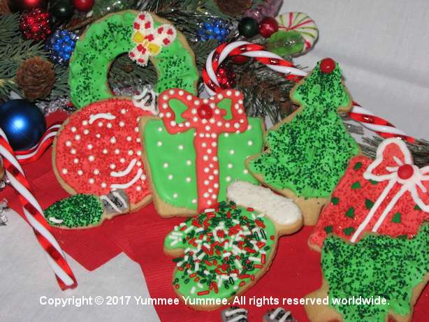 Decorated cut out sugar cookies are a special Christmas time treat.