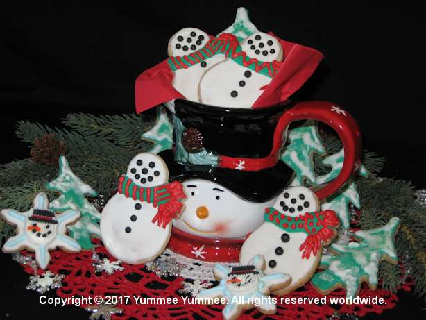 Create snowmen and trees with cut out cookies. With or without icing, Yummee Yummee cookies are delicious.