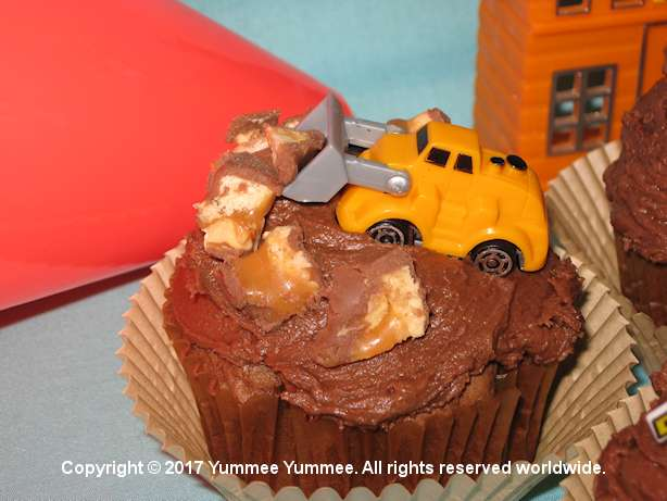 CAUTION: Construction Site - cupcakes made from our Fudgee Chocolate Velvet Cake recipe. Fun and yummee!